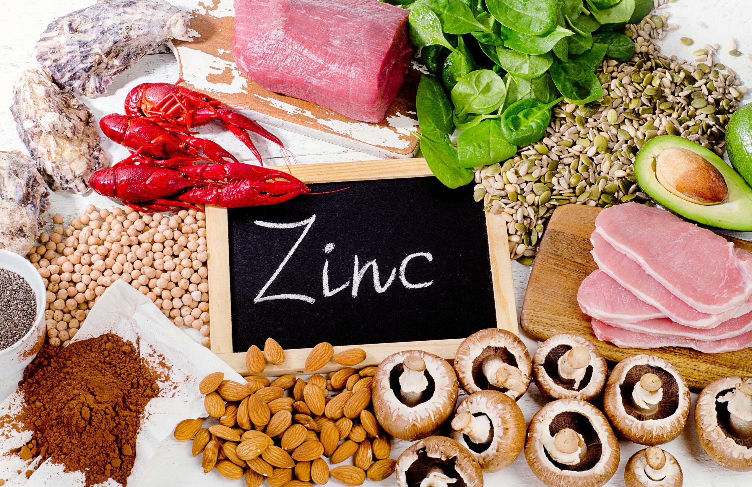 Gli alimenti più ricchi di zinco. Cibo dieta sana. Disteso