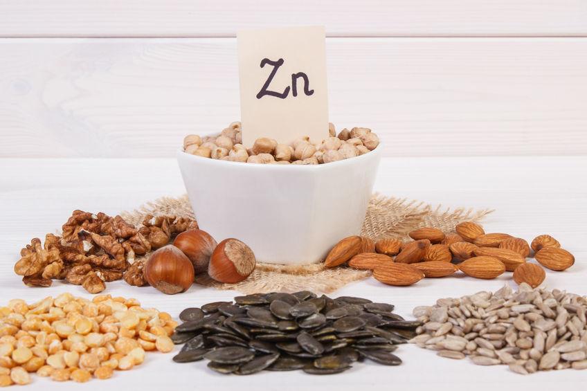 Prodotti e ingredienti contenenti zinco e fibre alimentari, alimentazione sana