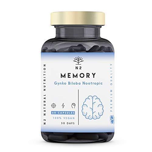 Nootropico Memoria Naturale. Caffeine, Bacopa, Ginko Biloba e Vitamine. Integratore Nootropico Concentrazione.Migliora l'umore e Memoria. Riduce Fatica e Stress Vegano 60 capsule N2 Natural Nutrition