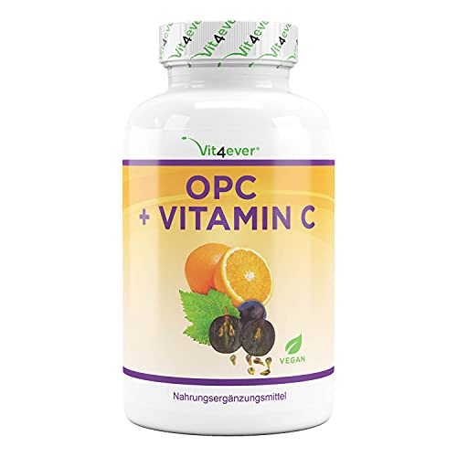 OPC Grape Seed Extract + Vitamina C - 1050 mg per dose giornaliera (2 capsule) - Genuine Premium OPC from European Grapes - Highly Dosed - Vega
