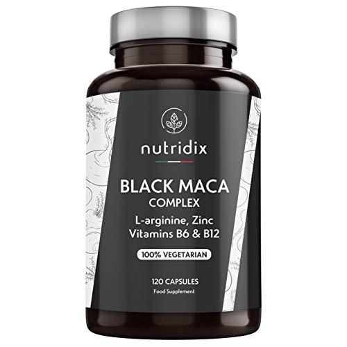 Maca Nera Peruviana 1.200 mg per Dose - Estratto Equivalente a 24.000 mg di Concentrato Vegetale di Maca 20:1 - Formula 100% Vegetariana con L-Arginina, Vitamina B6, B12 e Zinco - 120 Capsule Nutridix