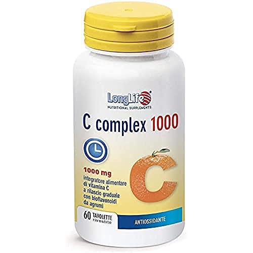 C COMPLEX 1000 LongLife   Integratore con bioflavonoidi da agrumi   Rilascio Graduale   Funzione immunitaria   Riduzione stanchezza e affaticamento   Doping Free