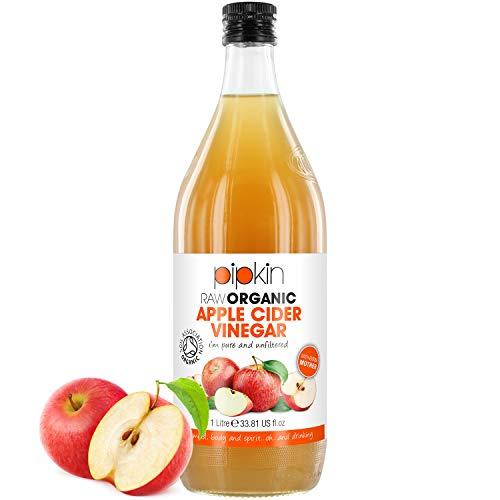 Aceto di mele Pipkin 100% biologico, Con la madre dell'aceto, Senza OGM, Pressato a freddo, Non raffinato, Non filtrato, Non pastorizzato, 5% di acidità, Vegetariano, Vegano e Kosher, 1000 ml