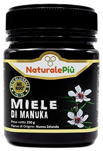 Miele di Manuka 800+ MGO 250 gr. Prodotto in Nuova Zelanda, Attivo e Grezzo, Puro e Naturale al 100%. Metilgliossale Testato da Laboratori Accreditati.