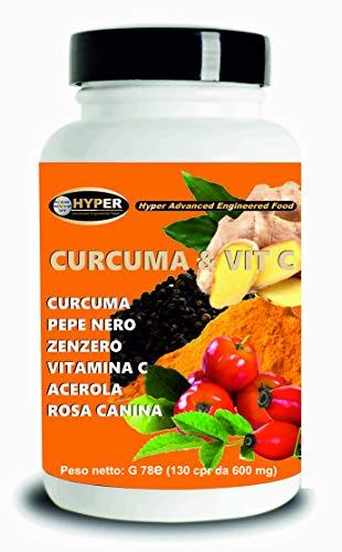 Curcuma & Vit C Piperina Zenzero Acerola Vitamina C 130 Compresse Antiossidante Alto Dosaggio Estratto Curcumina Potente Veloce Brucia Grassi Antinfiammatorio Vegan e Senza Lattosio