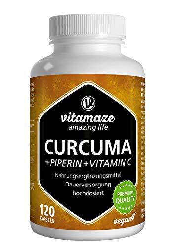 Vitamaze® Curcuma e Piperina plus Vitamina C ad Alto Dosaggio, L'Estratto 95% da Curcumina Pura, 120 Capsule Vegan per 40 Giorni, Qualità Tedesca, Integratore Alimentare senza Additivi non Necessari