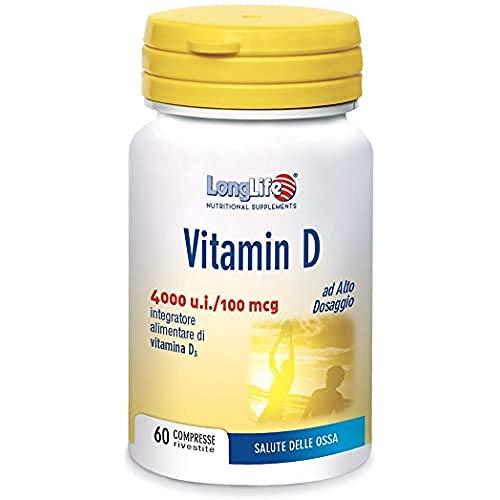Vitamin D 4000 LongLife   Integratore Vitamina D3 naturale   Alto dosaggio   60 cpr   Sistema Immunitario, salute delle ossa   Doping Free, Gluten Free & Vegetarian