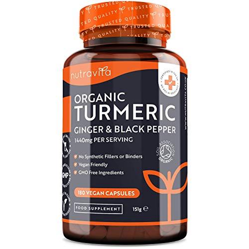 Curcuma Bio 1440 mg con Piperina e Zenzero - 180 Capsule di Curcuma e Piperina Vegana ad Alto Dosaggio (Fornitura per 3 Mesi) - Ingrediente Attivo Curcumina - Prodotto da Nutravita