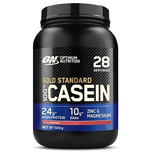 Optimum Nutrition 100% Gold Standard Casein, Proteine di Caseina a Lento Rilascio con Glutammina, Aminoacidi, Zinco e Magnesio, Fragola, 28 Porzioni, 0.92 kg, il Packaging Potrebbe Variare