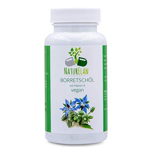 Olio di borragine vegan perle - 90 capsule con olio di borragine da 500 mg ciascuna - con acidi grassi omega-6 (acido linoleico al 45%), acido gamma-linolenico 100 mg e vitamina E 15 mg