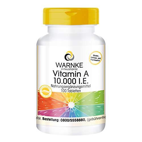 Vitamina A pura 10.000 U.I. - 100 compresse - Importante per pelle, mucose, tessuti e l'intestino