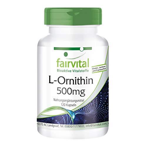 L-Ornitina 500 mg - 1 mese - VEGAN - dose elevata - 120 capsule - amino - 120 capsule