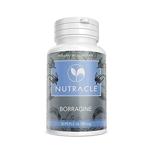 Nutracle Borragine 50 perle da 700 mg Integratore per pelle e capelli - Olio di Borragine ricco di Acido Gamma Linoleico (GLA 20% Omega 6) Disturbi ciclo mestruale - Dermatite seborroica e Acne Viso