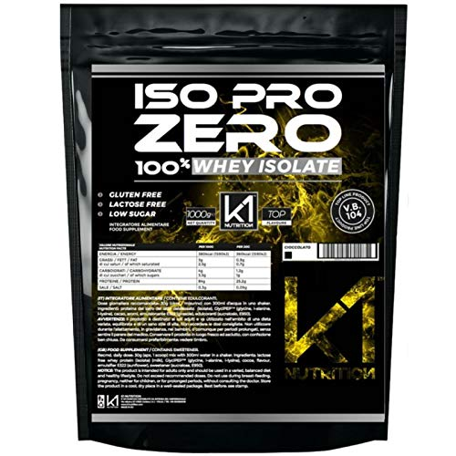 ISO PRO ZERO 1 Kg Proteine 100% Whey Isolate con Vb104 - K1 Nutrition SENZA GLUTINE, SENZA LATTOSIO, LOW SUGAR, (CIOCCOLATO)